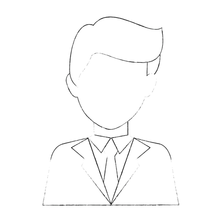 businessman profile cartoon Illustration