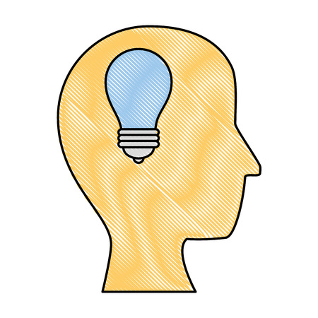 head with light bulb icon over white background vector illustration