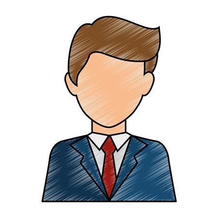 businessman profile cartoon Ilustração
