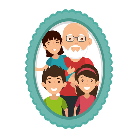 frame with family picture Banco de Imagens - 82750773