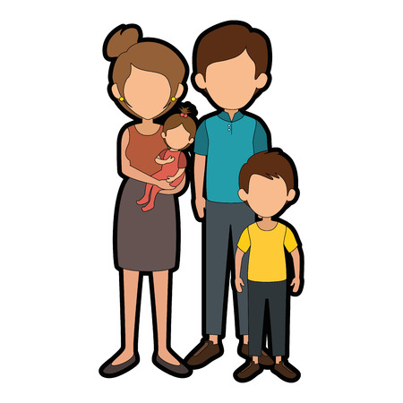 family with kids Ilustração