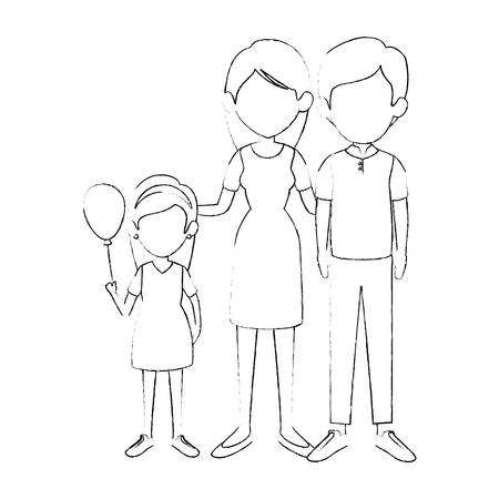 family with kids 向量圖像