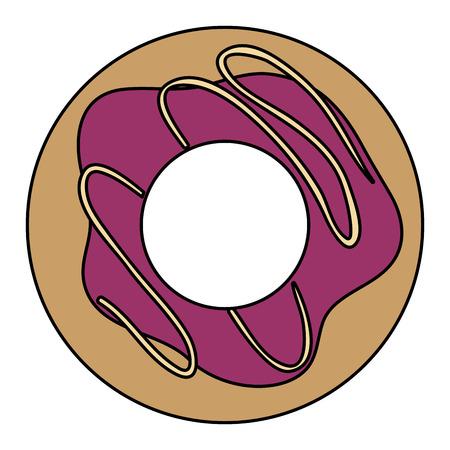 おいしいドーナツ分離アイコン ベクトル イラスト デザイン