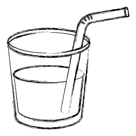 beverage in glass cup with straw vector illustration design
