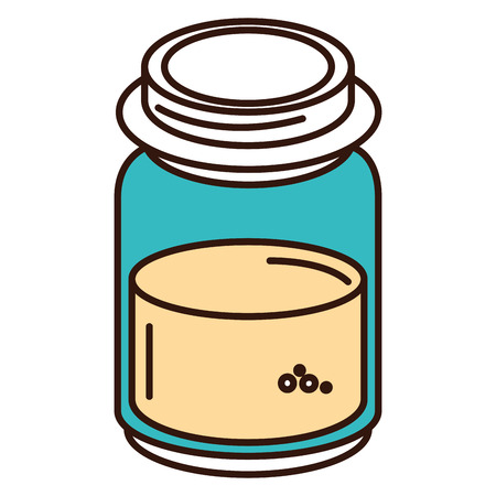 mason jar with ingredient kitchen vector illustration design