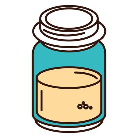 mason jar with ingredient kitchen vector illustration design