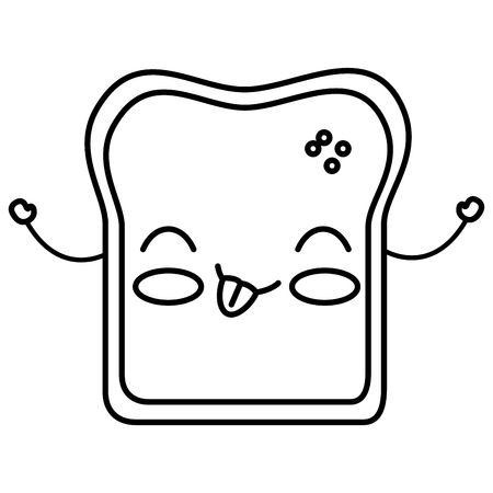 toasted: delicious toast bread kawaii character vector illustration design