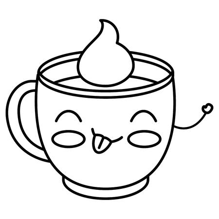 Koffie kopje Kawaii karakter vector illustratie ontwerp Stock Illustratie