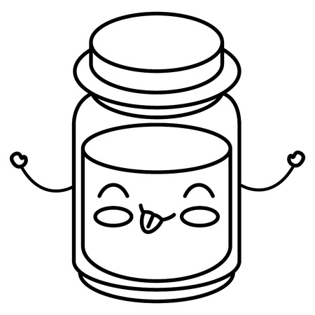 mason jar with ingredient kitchen kawaii character vector illustration design Illustration