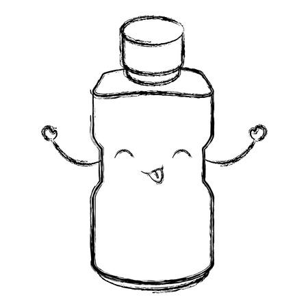 plastic bottle kawaii character vector illustration design