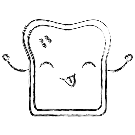 Delicious toast bread kawaii  in character vector illustration design