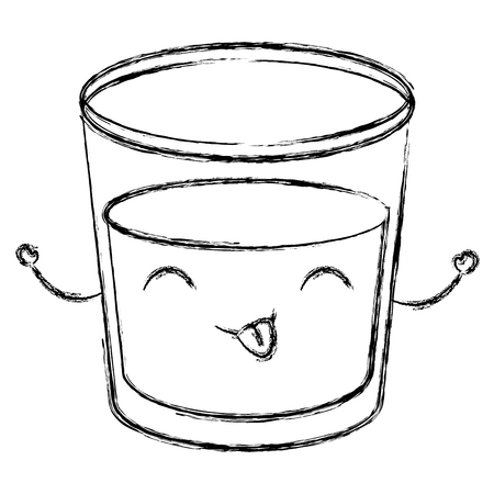 Beverage in glass cup kawaii in character vector illustration design Illustration