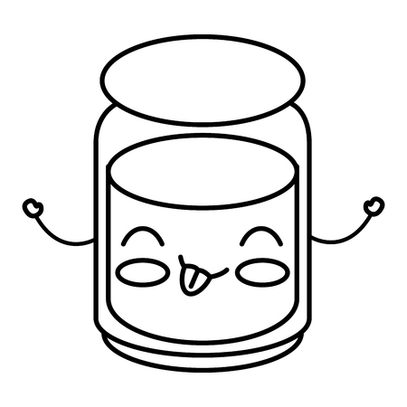 Mason jar with ingredient kitchen kawaii character vector illustration design