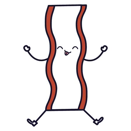 delicious bacon kawaii character vector illustration design