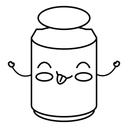 confiture: Mason jar with ingredient kitchen kawaii character vector illustration design