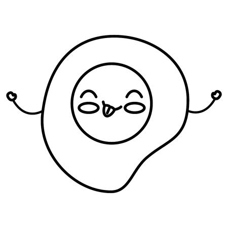 Ei gebraden ontwerp van de kawaiikarakter vectorillustratie