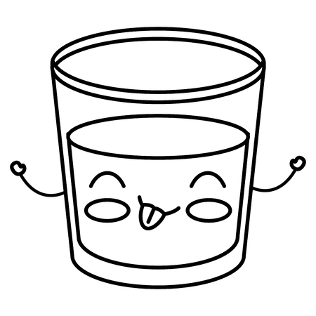 Beverage in glass cup kawaii character vector illustration design