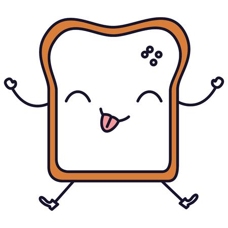 Delicious toast bread kawaii in character vector illustration design Illusztráció