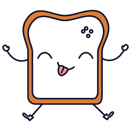 Delicious toast bread kawaii in character vector illustration design Illustration