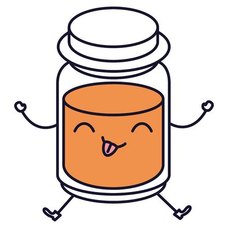 confiture: mason jar with ingredient kitchen kawaii character vector illustration design Illustration