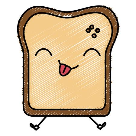 grain: Delicious toast bread kawaii character vector illustration design Illustration