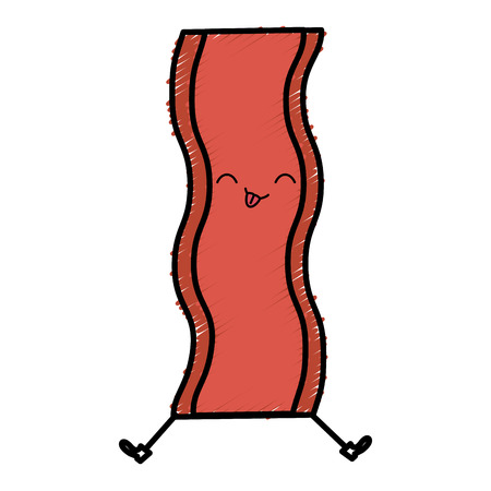 Delicious bacon kawaii character vector illustration design