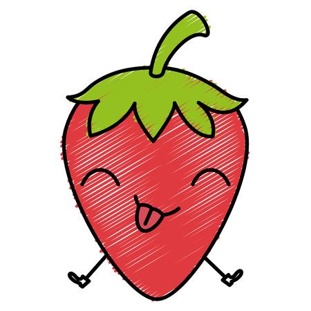 Ontwerp van de het karakter vectorillustratie van het aardbei verse fruit kawaii Stock Illustratie