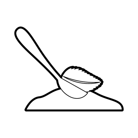 spoon with sugar powder vector illustration design
