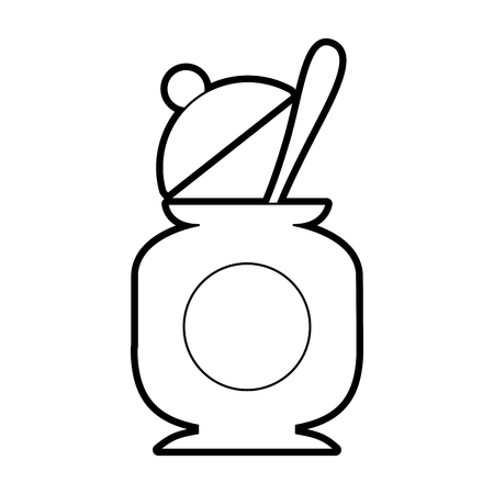 sugar pot with spoon vector illustration design Çizim