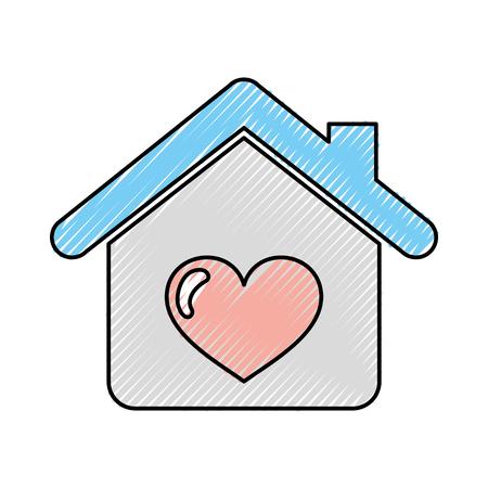 Haus mit Herz-Symbol Vektor-Illustration , Design , Standard-Bild - 82758014