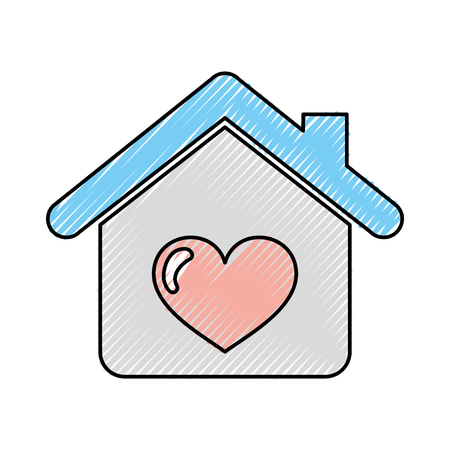 house with heart icon vector illustration design