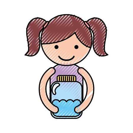 cute little girl character with watter bottle vector illustration design