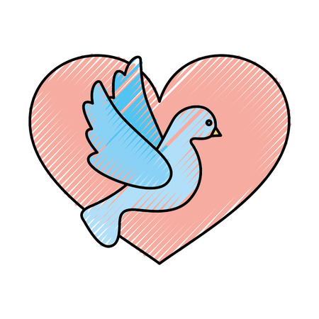 heart with cute dove flying icon vector illustration design