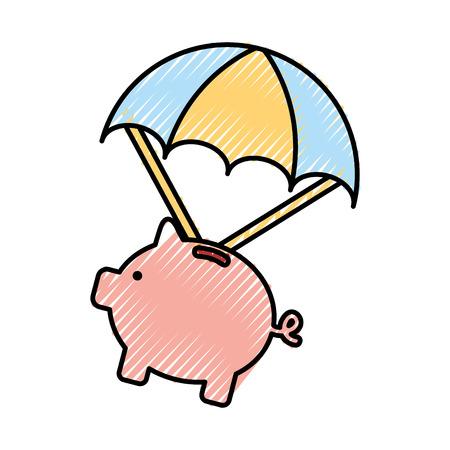 piggy savings with parachute vector illustration design Illustration