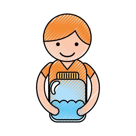 cute little boy character with bottle water vector illustration design Ilustração