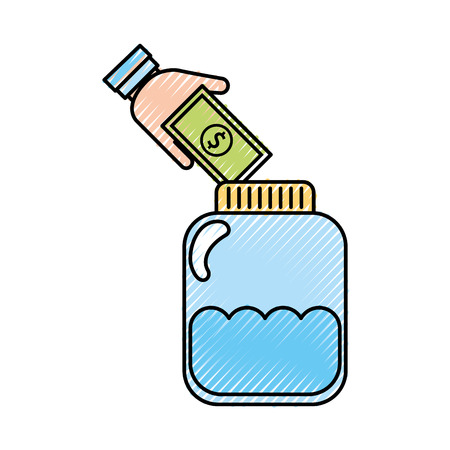 jar bottle with bills vector illustration design
