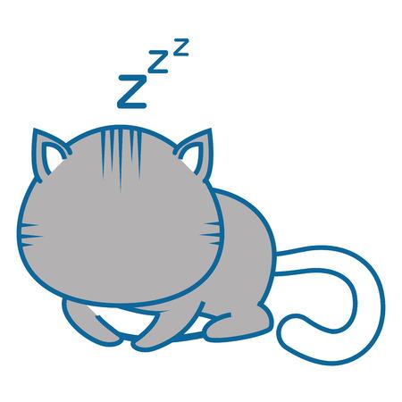 geïsoleerde schattige kat slaap pictogram vector illustratie grafisch ontwerp