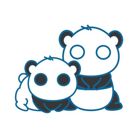 Isolierte niedliche zwei Panda Bär Symbol Vektor-Illustration Grafik-Design Standard-Bild - 82813897