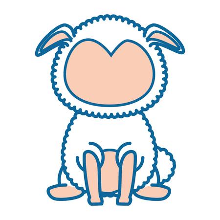 Geïsoleerd leuk bevindend vectorontwerp van de schapenpictogram vectorillustratie Stock Illustratie
