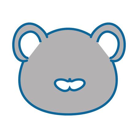 고립 된 귀여운 마우스 얼굴 아이콘 벡터 일러스트 그래픽 디자인