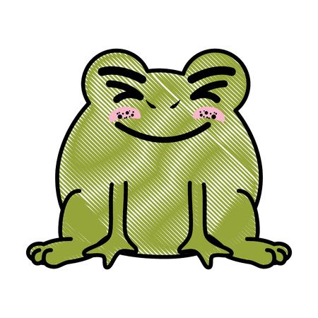 절연 귀여운 서 두꺼비 아이콘 벡터 일러스트 그래픽 디자인