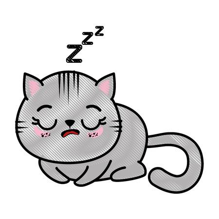 Geïsoleerd leuk vector de illustratie grafisch ontwerp van het kattenslaappictogram Stock Illustratie