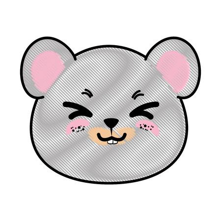 Het geïsoleerde leuke grafische ontwerp van de het pictogram vectorillustratie van de muisgezicht