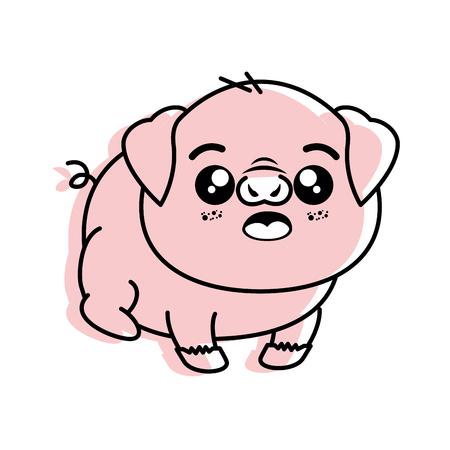 孤立したかわいい立っている豚のアイコン ベクトル イラスト グラフィック デザイン