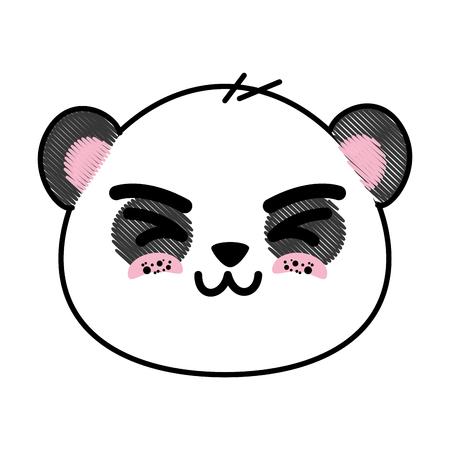 Niedlichen Panda Bär Gesicht Symbol Vektor-Illustration Grafik-Design Standard-Bild - 82814312