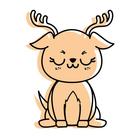 isolated cute standing deer icon vector illustration graphic design Illustration