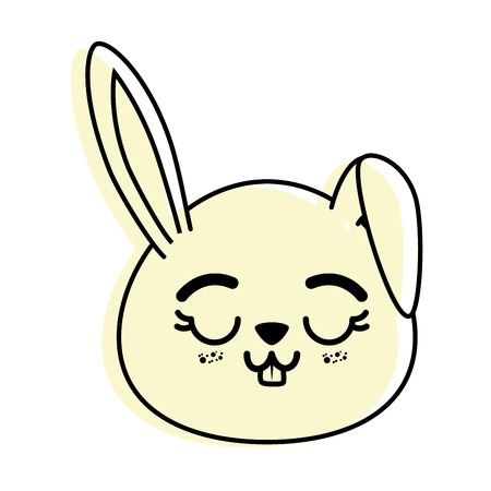 isolated cute rabbit face icon vector illustration graphic design Ilustração