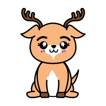 절연 귀여운 서 사슴 아이콘 벡터 일러스트 그래픽 디자인