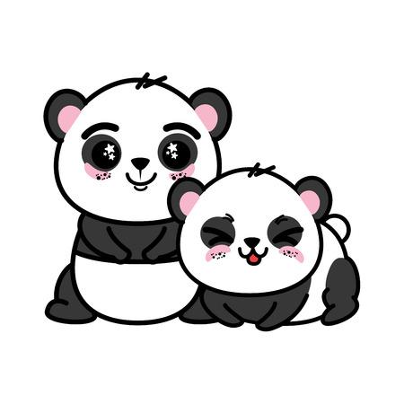 절연 귀여운 두 팬더 곰 아이콘 벡터 일러스트 그래픽 디자인 일러스트