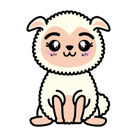 isolated cute standing sheep icon vector illustration graphic design Banco de Imagens - 82825903